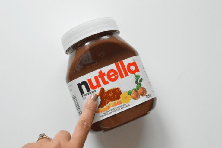 A jar of chocolate Nutella spread.