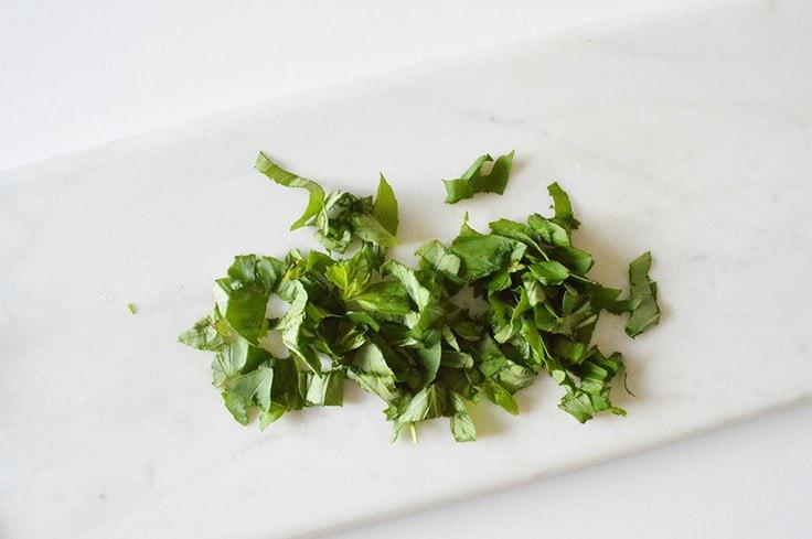 Chopped basil.