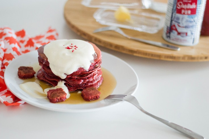 Red velvet pancakes with a maple syrup buttercream topping to kick off your Canada Day festivities. This is the sweetest Canada Day recipe, ever.