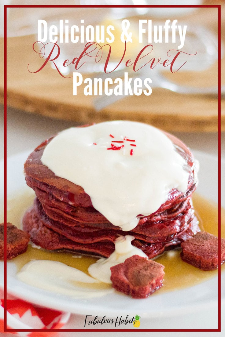 These red velvet pancakes are light and fluffy - and full of so much delicious flavour! #redvelvetpancakes