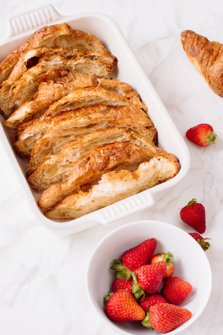 Croissant French Toast with a strawberry topping and ricotta dip - perfect for Mother's Day brunch!