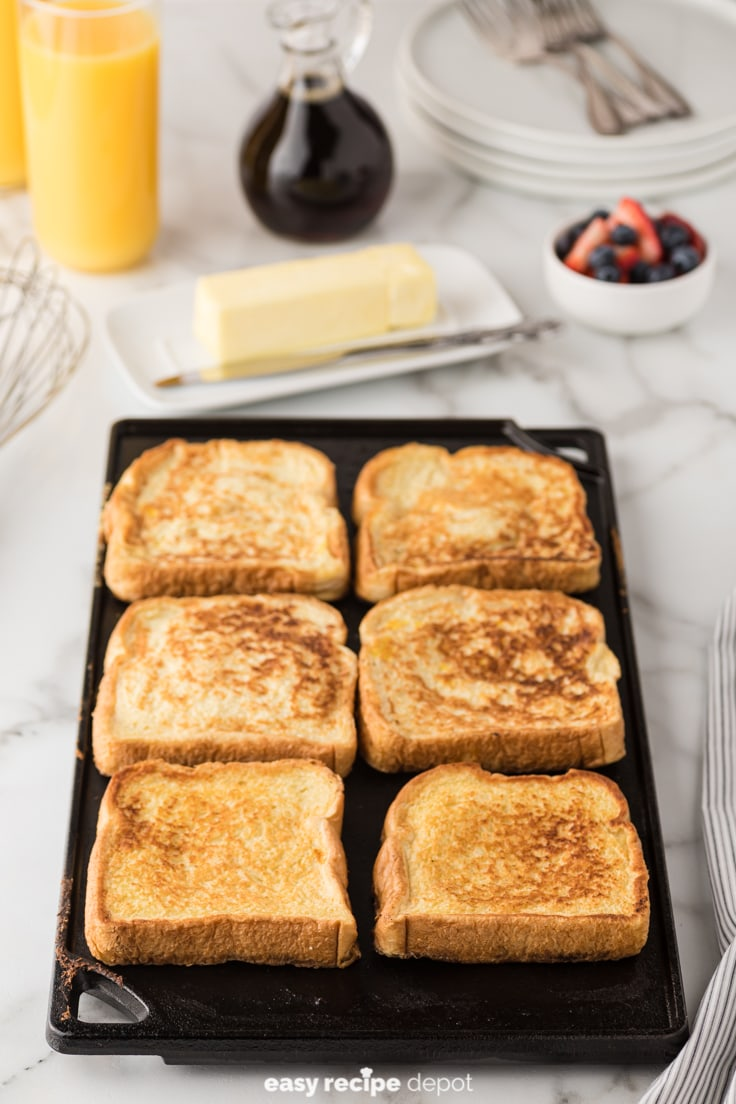 French toast on a cast iron griddle.