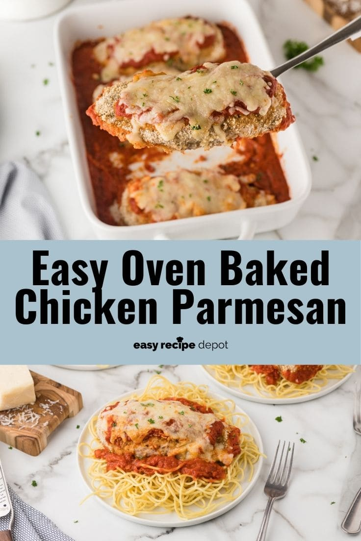Quick and easy oven baked chicken parmesan.