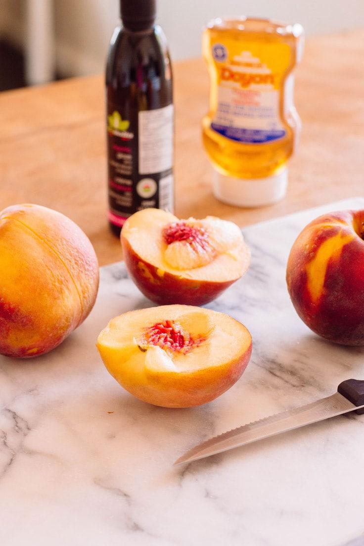 Sliced peaches.