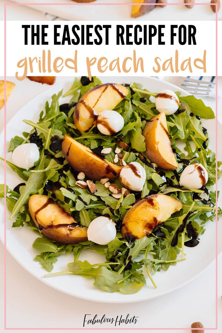 Here's our super simple recipe for Grilled Peach Salad. This is the perfect dish when you're craving something flavorful but still light. #grilledpeachsalad