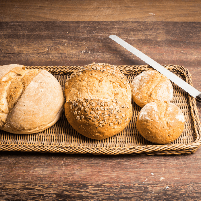 Fresh baked bread and a bread knife