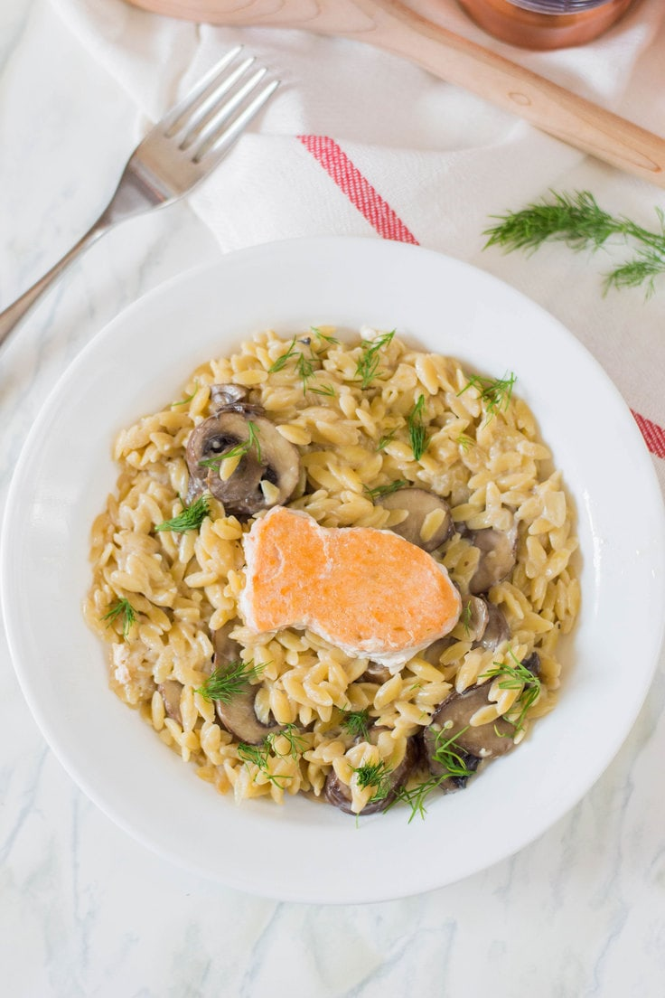 Got a picky eater on your hands? Try out this recipe for creamy orzo with fried salmon - it's an easy dinner that the entire family will adore! #creamyorzo