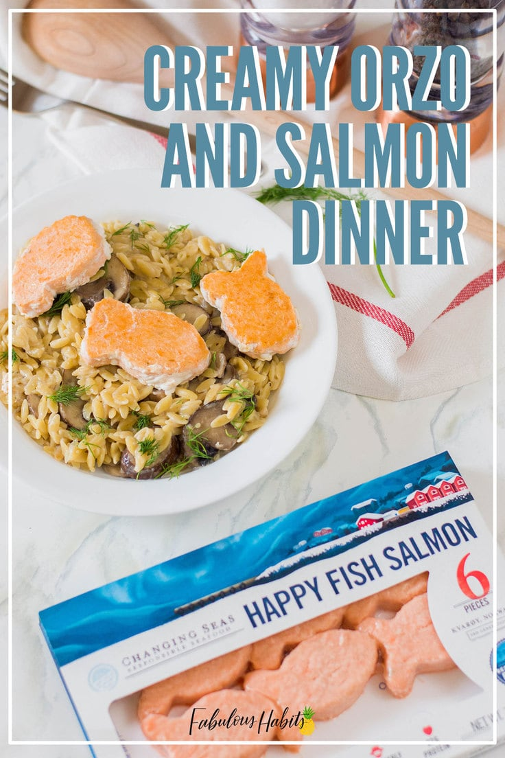 Here's our surefire recipe for Creamy Orzo with Fried Salmon. Guess what? The salmon only takes 4 minutes to make! Delicious, healthy AND quick?! Sign me up! #creamyorzo