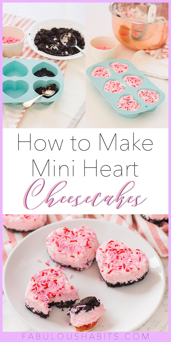 Learn how to make these easy no-bake mini cheesecakes - no gelatin required! Plus, they're heart-shaped, so they make for the most romantic treat! #minicheesecake