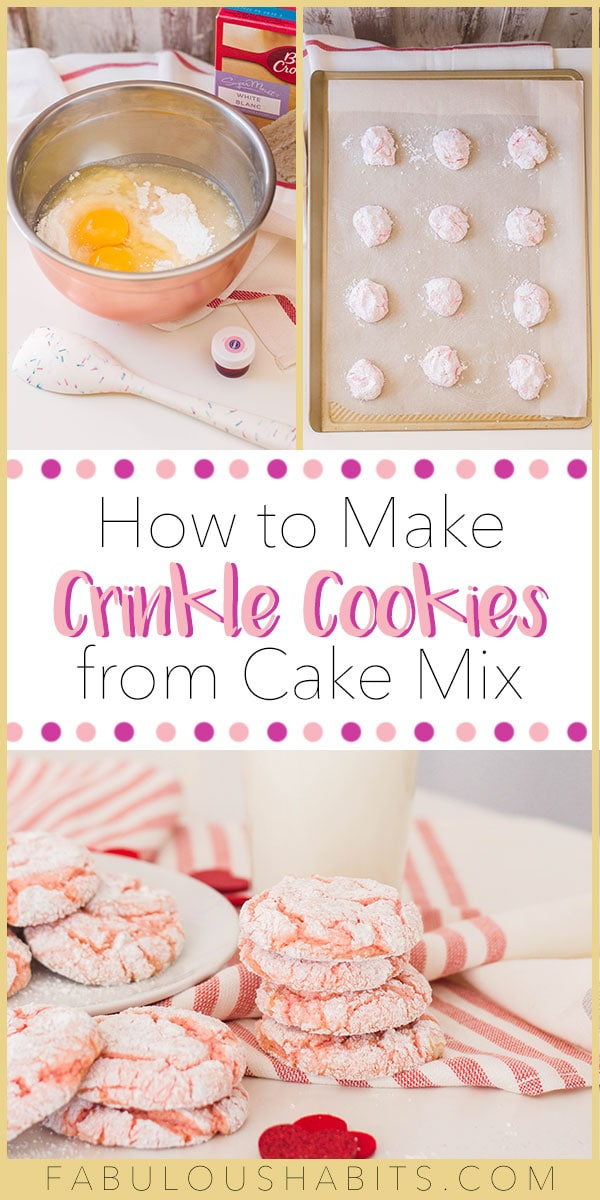 You can make these delicious pink crinkle cookies from a cake mix and totally impress your guests. Plus they're super tasty! Double win! #crinklecookies
