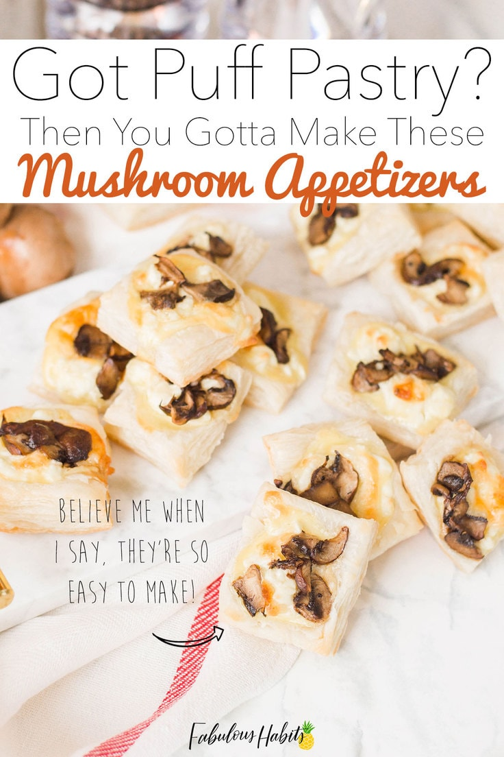 If you've got some puff pastry in your freezer, take it out, defrost it and then make these delicious Mushroom Appetizers! Your family will love them! #mushroompuffpastry