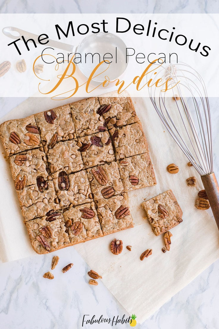 Have you ever had blondies? This batch of Caramel Pecan Blondies has the most interesting flavour profile and is melt-in-your-mouth good!