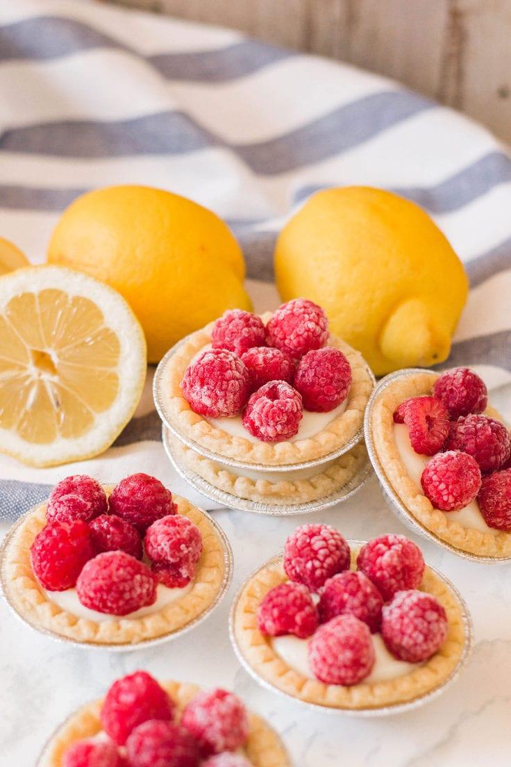 Mini raspberry lemon tart dessert recipe.