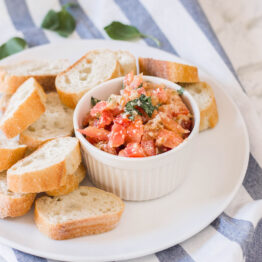 This easy bruschetta appetizer is quick to make and yields the most delicious results - restaurant-style! #homemadebrushcetta