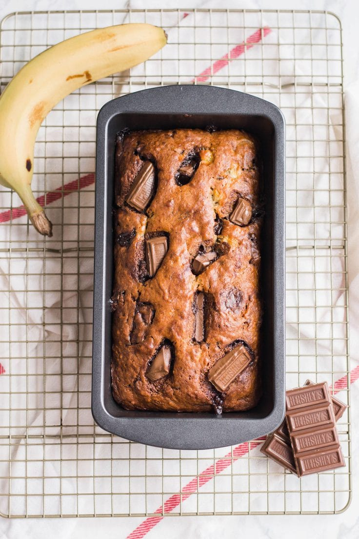 Chocolate Hershey bar banana bread recipe.