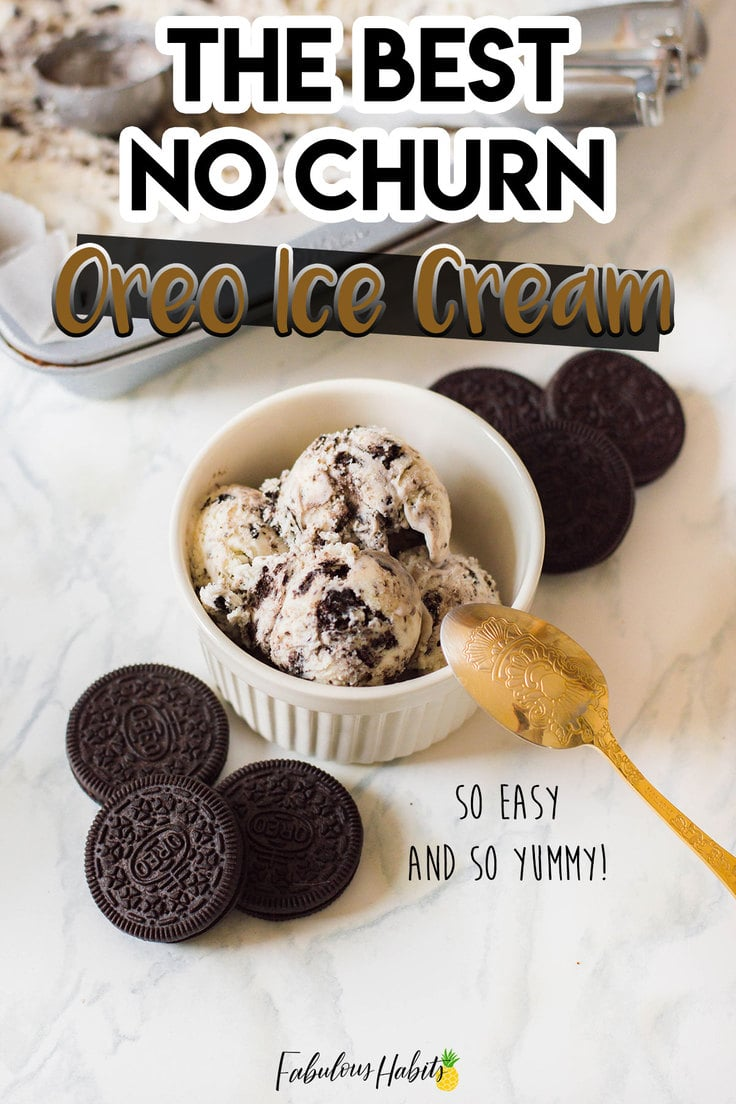 Oreo No Churn Ice Cream Recipe - here's a super easy way to make your own Oreo-infused ice cream from the comfort of your own home. It only takes 4 ingredients to make!
