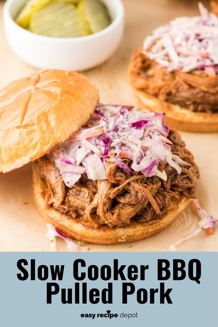 A pulled pork sandwich topped with coleslaw.