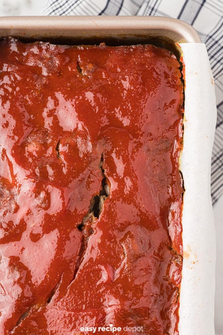 Meatloaf in a loaf pan.
