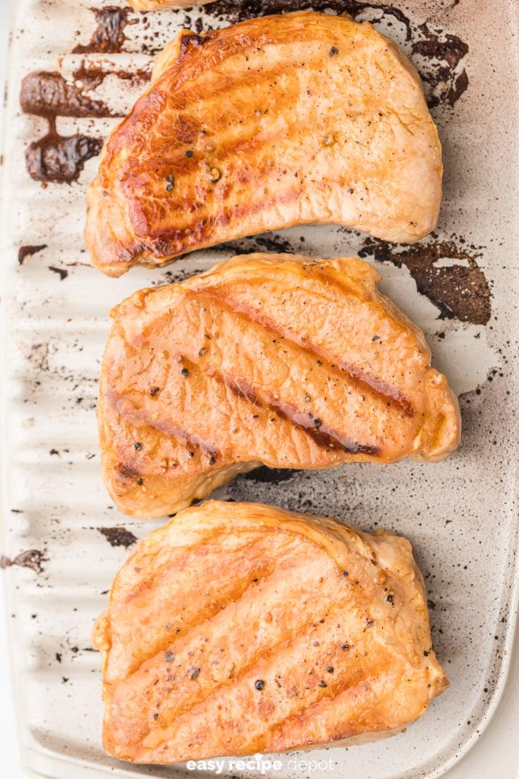 Pork chops on a George Foreman grill.