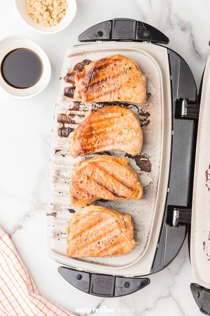 pork chops on a George Foreman grill