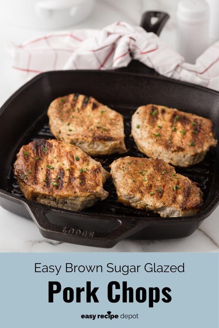 Easy brown sugar glazed pork chops.