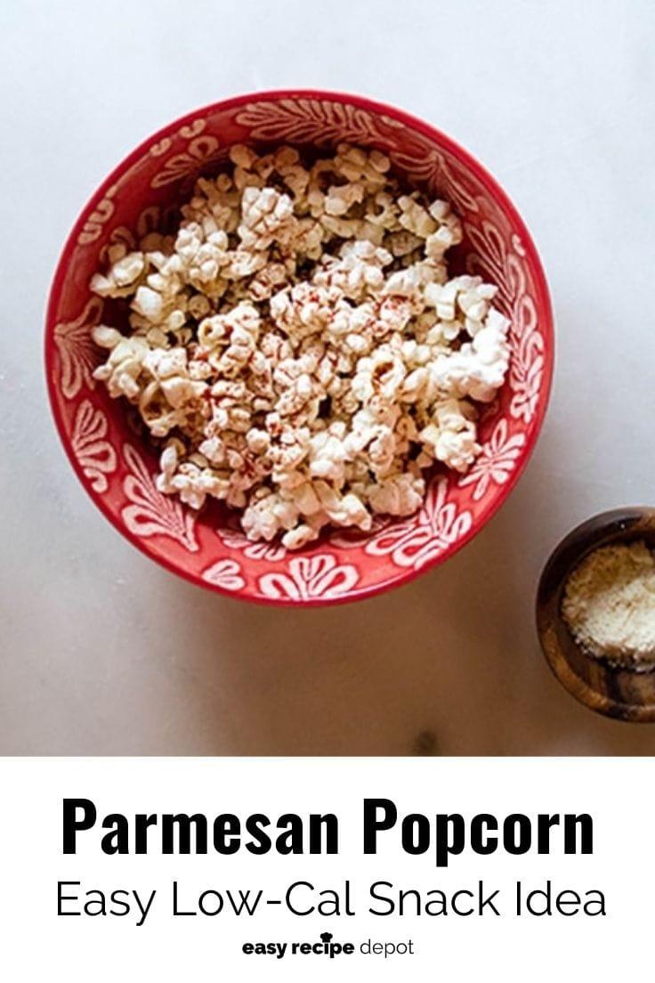 A bowl of homemade parmesan popcorn.