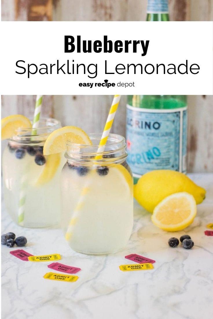 Blueberry sparkling lemonade in clear glass jars.