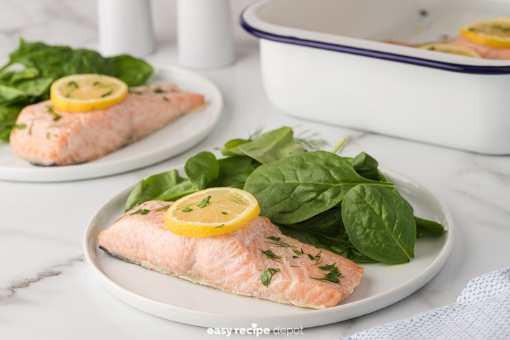 baked salmon with lemon slices and dill and parsley served with a side salad
