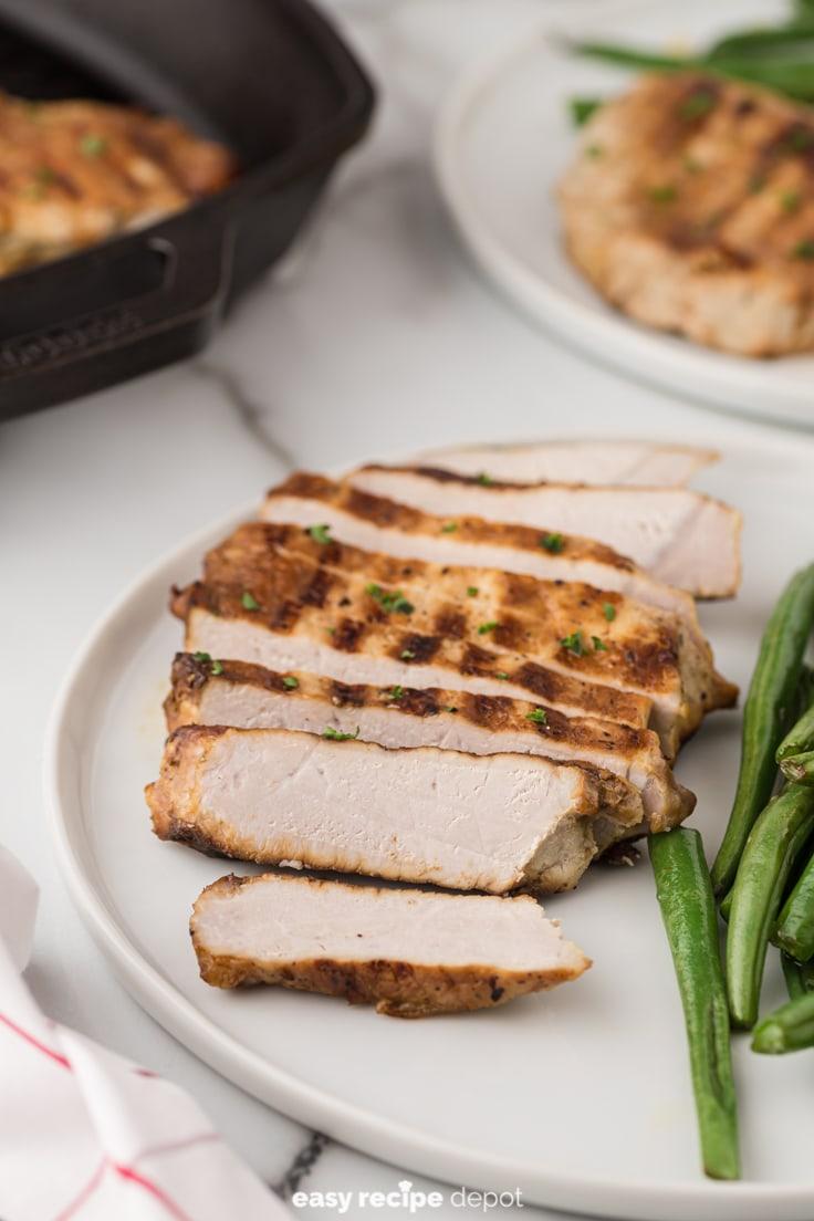 Slices of brown sugar pork chops.