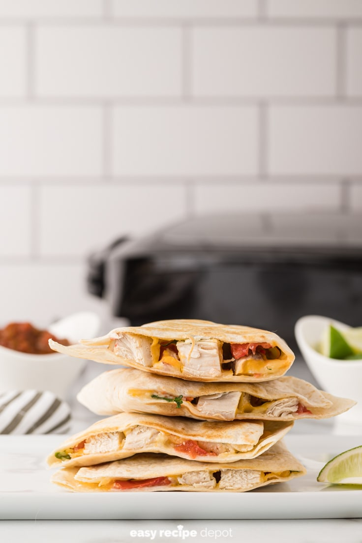 stacked chicken quesadillas