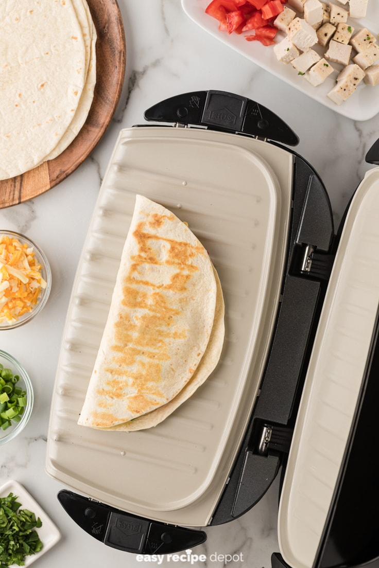 chicken quesadilla on the george foreman grill