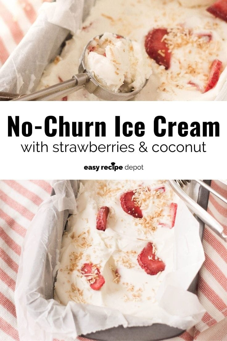 No-churn ice cream with strawberries and coconut.