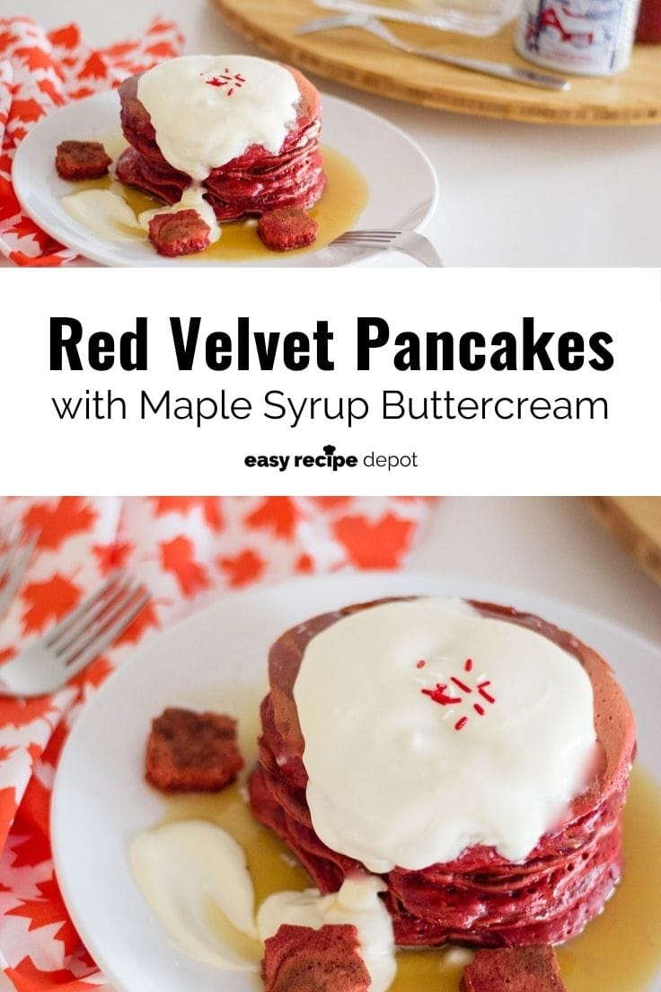 Red velvet pancakes with maple syrup buttercream.