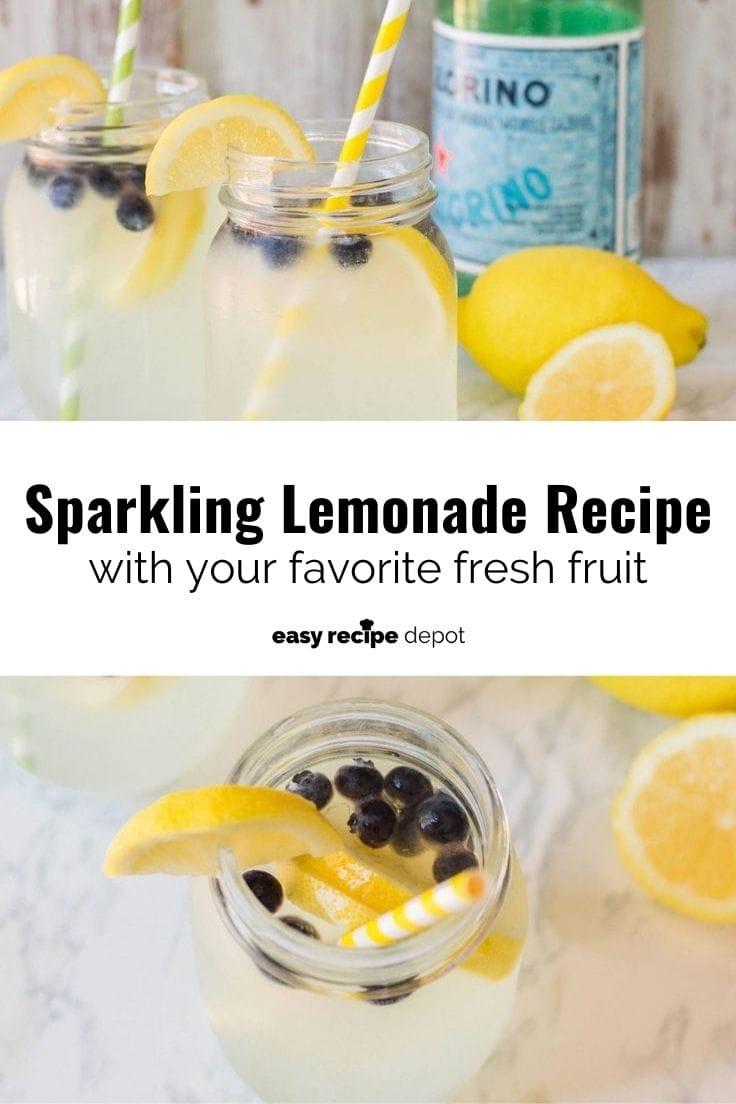 Sparkling lemonade recipe with your favorite fresh fruit.