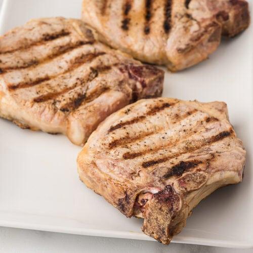 grilled bone in pork chops