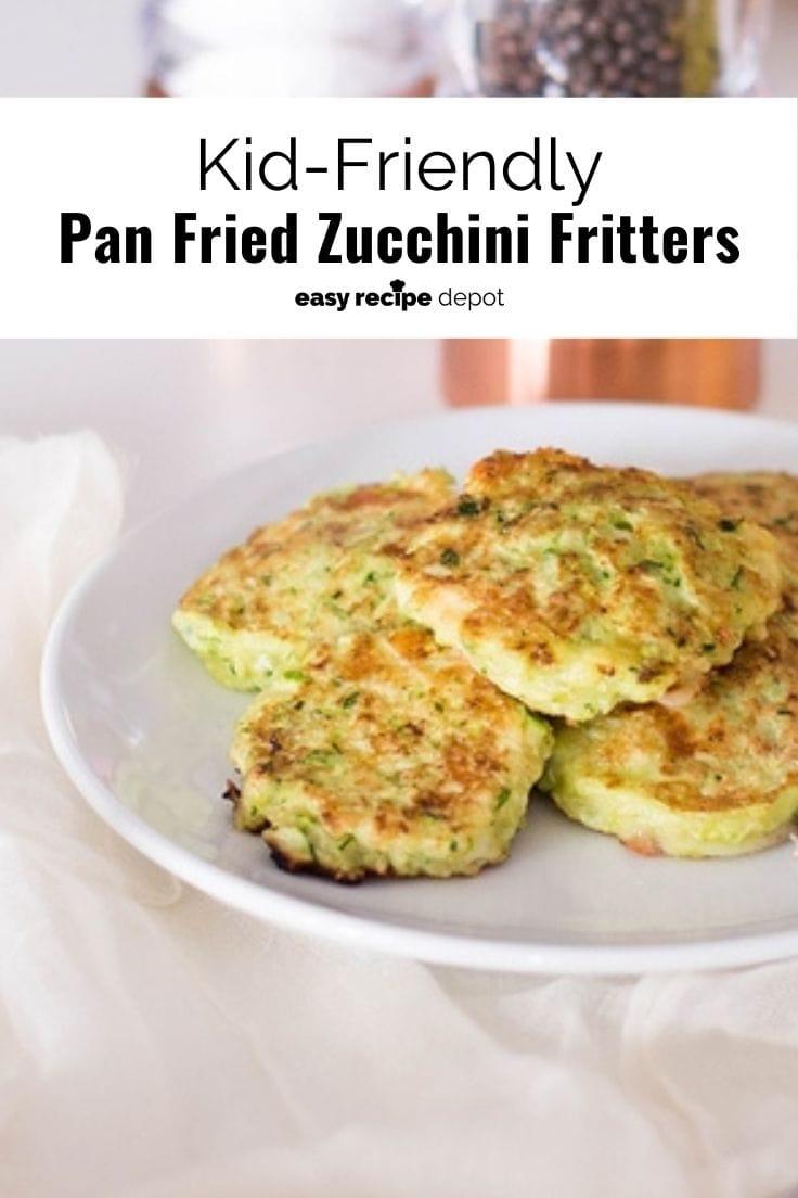 Kid-friendly pan-fried zucchini fritters.