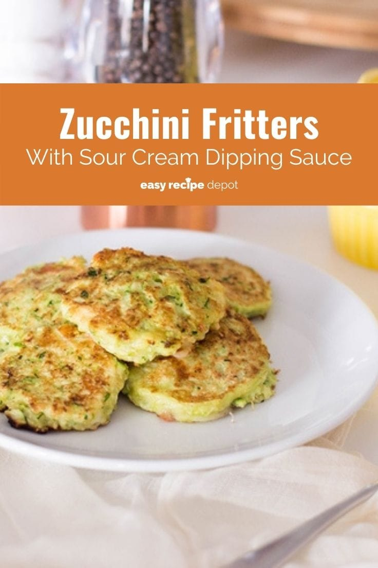 Pan-fried zucchini fritters with sour cream dipping sauce.
