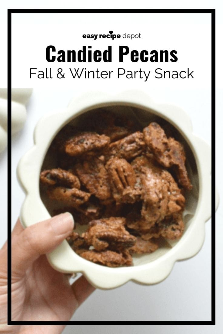 Candied pecans fall and winter party snack.