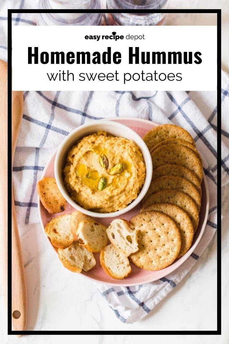 Homemade sweet potato hummus dip spread recipe.