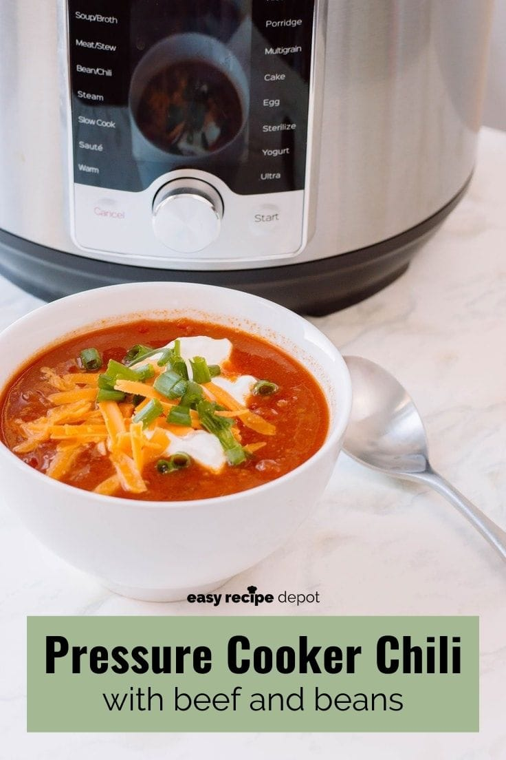 Pressure cooker chili with beef and beans.